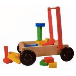Loopwagen met blokken (27 delig)