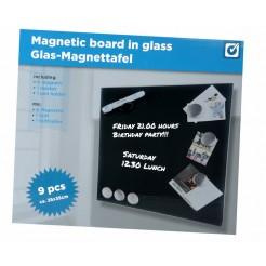 Magnetisch memobord van glas (zwart)