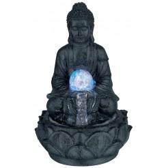 Boeddha met fontein en LED, 30cm (donker grijs)