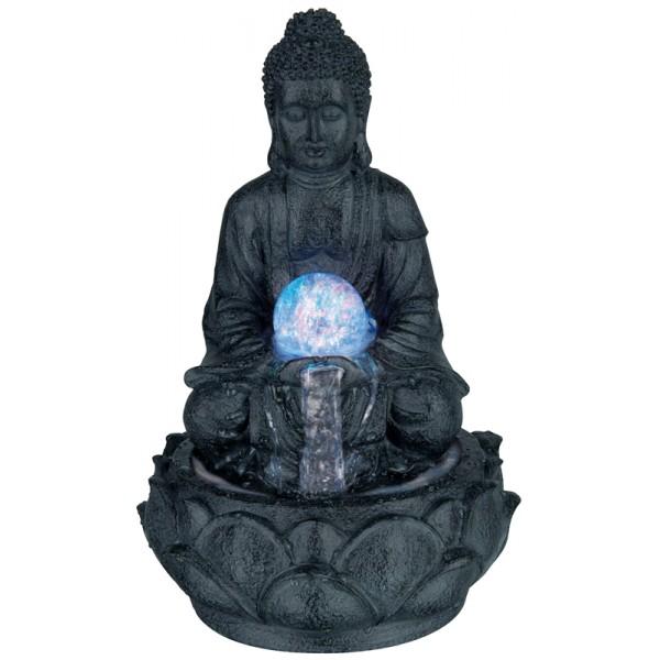 Boeddhabeeld Met Fontein.Boeddha Met Fontein En Led 30cm Donker Grijs