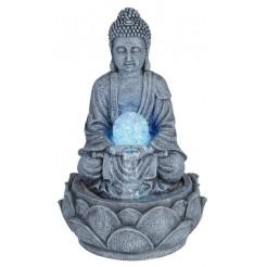 Boeddha met fontein en LED, 30cm (licht grijs)
