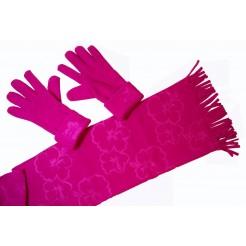 Cadriano Fleece sjaal met handschoenen (roze)