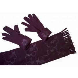 Cadriano Fleece sjaal met handschoenen (zwart)